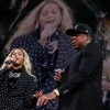 Recording artists Beyonce and Jay Z perform during a Get Out The Vote concert Democratic presidential nominee former Secretary of State Hillary Clinton